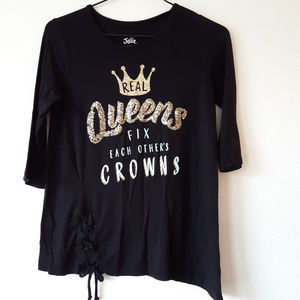 Justice girl's shirt  tee top sz 12 black